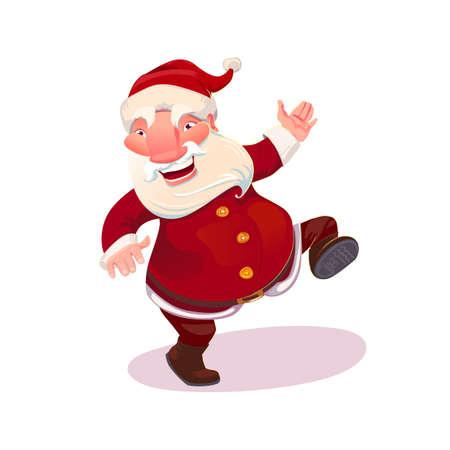 Santa Claus actions set. Cartoone style xmas characters. Santa dances. Christmas and New Year symbol.