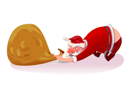 Christmas Santa Claus with bag. Cartoone style xmas character. Santa pulls the bag.