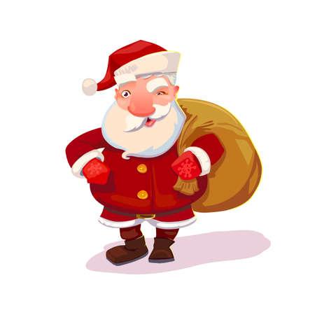 Santa Claus cartoone xmas character with bag. Christmas and New Year symbol. Illustration