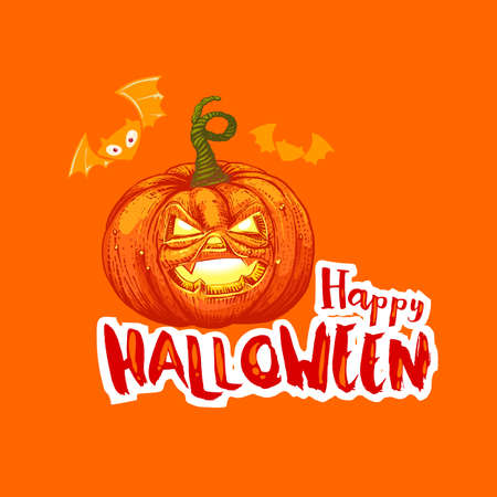 Bright Happy Halloween card with Jack pumpkin and bats. cartoon illustration. Typography slogan.