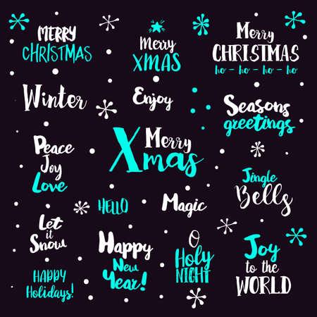 Merry Christmas Lettering Design Set. illustration Xmas greetings. Bright holidays labels. Illustration