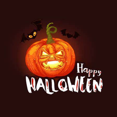 Happy Halloween card with Jack pumpkin and bats. cartoon illustration. Typography slogan. Dark night halloween holiday banner.