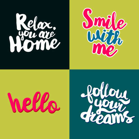 Lifestyle Quotes typography set. Calligraphy style lettering motivation. Illustration