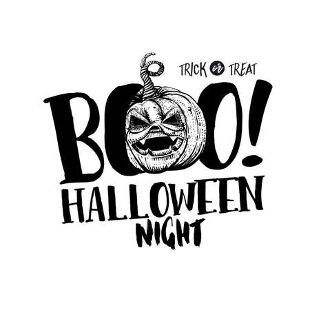 Hand drawn Halloween Boo label with sketch style pumpkin and typography greetings. Sketch drawn pumpkin. Halloween night concept.
