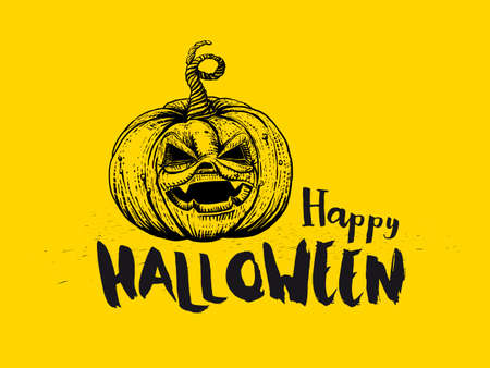 Hand drawn Halloween card with textured pumpkin and typography greetings. Sketch drawn pumpkin Illustration