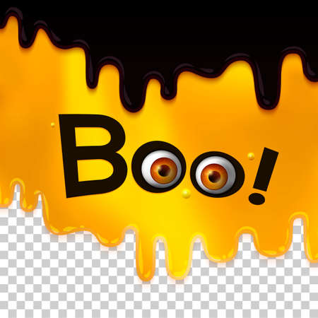 Hanging word BOO text with realistic monster eyes on liquid layered background. Orange fun baby background. illustration