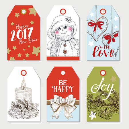 colorfull winter holidays tags with hand drawn elements new year symbols and lettering greeetings