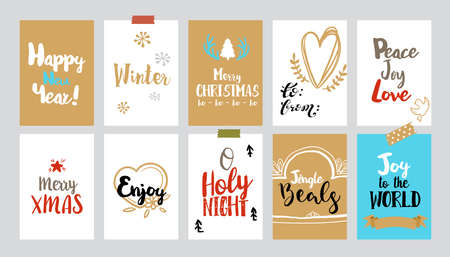 colection: Set of Christmas gift tags. Vector colection with doodle illustrations and typography. Sketch illustration of holidays simbols hearts, xmas wreath, candle, gift box. Trendy gold colors design
