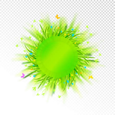 Abstract grass circle label isolated on transparent background. Vector illustration with blurred backlight.
