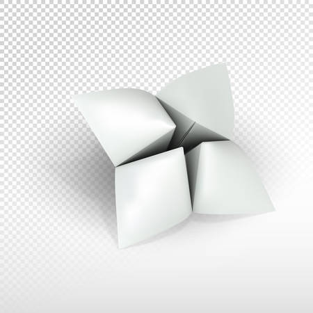 Blank paper fortune teller (can be used as illustration for printing or web). Isolated on transparent background with realistic shadow. Realistic vector object. 矢量图像