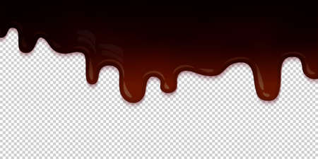 confectioner: Flowing dark chocolate glaze isolated on transparent background abstract. Melt icing ice cream. Editable - Easy change colors. Vector illustration