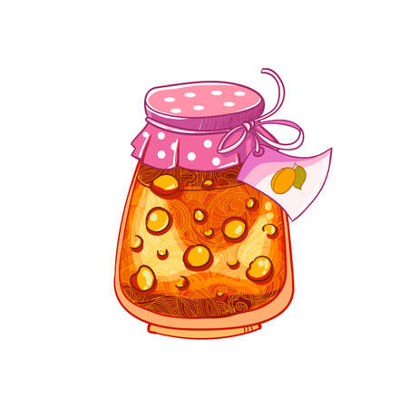 marmalade: Jar of Apricot or peach. Jam isolated on white background. Vector cartoon hand drawing vector illusatrtion. Illustration