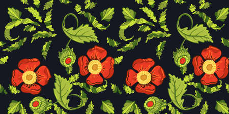 Elegance Seamless red color flowers pattern on black background, vector illustration