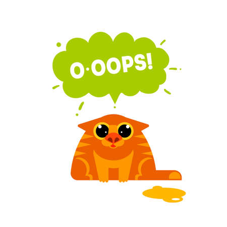 OOPS card with cat isolated on white background. Fun excuse concept vector illustration. Error idea web banner. Cat mistake. Expression oops.