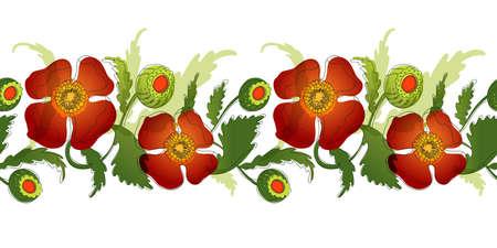Elegance tileble red color flowers ornament, vector illustration