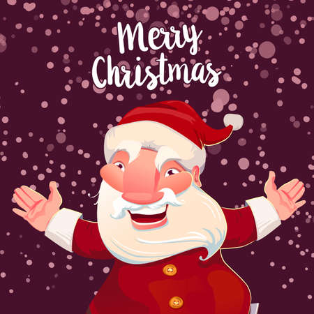 saint nicholas: Illustration of cute Santa Claus on dark snow background. Vector Christmas card. Santa celebrates, hands up and smile. Merry Christmas typography greetings Illustration