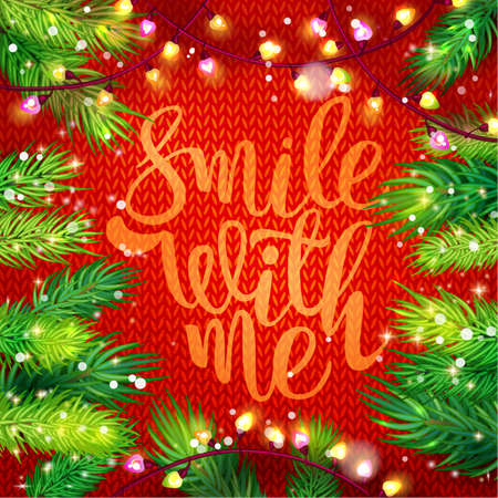 Smile with me Typography card with fir and garland frame on knitting background. Holiday greetings on red. Marry Christmas and Happy New Year. Illustration