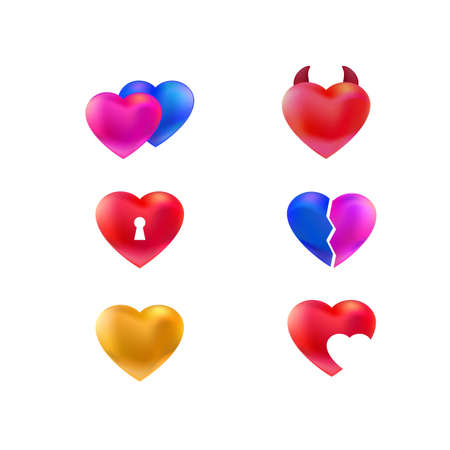Collection of vector hearts icons