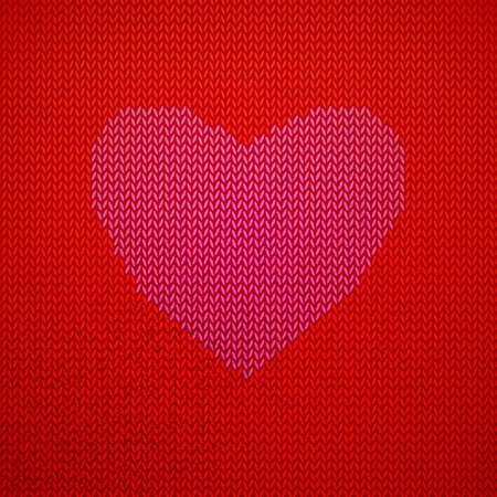 Red Knitted pattern with heart