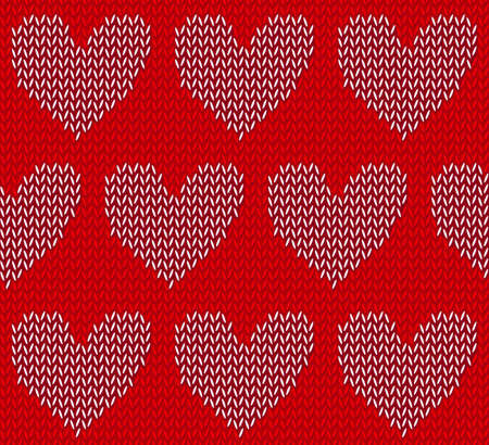 white: White knitted hearts on red Illustration