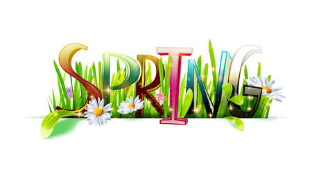 Spring word with grass on white Illustration