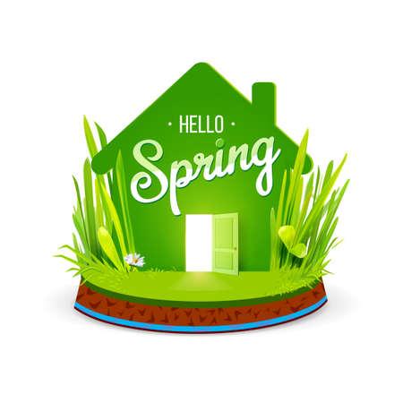Green eco house Illustration