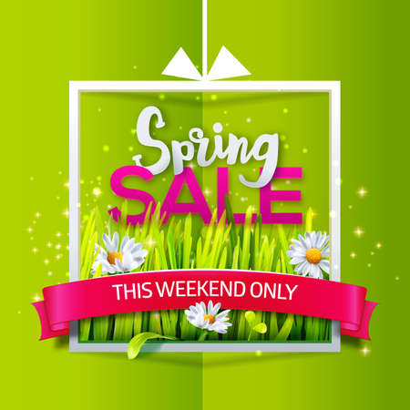 Spring sale banner with red ribbon Illustration