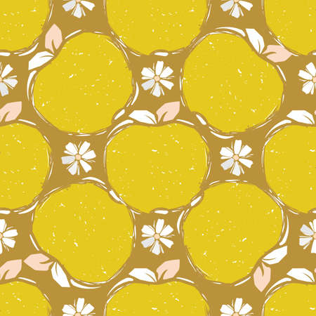 Seamless pattern of yellow hand drawn apple sketch in grunge style on beige background. Vector illustration. Harmonious colors for interior design, textile, packaging, cards and posters. Illustration