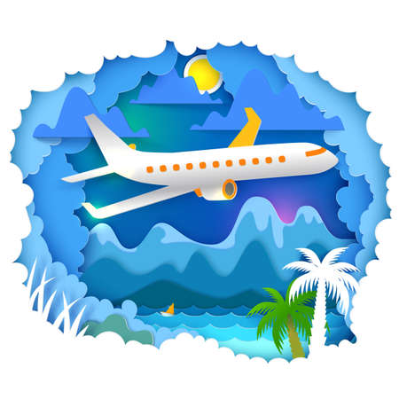 Vector illustration. Paper art and craft style. Cloudy sky appears through layers. Mountains, sun, sea, palms landscape with airplane on the sky. Paper cut for travel, vacation, adventure banners Stock Photo