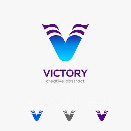 Blue victory logo