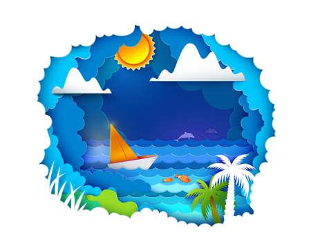 Sailboat on tropical sea Illustration