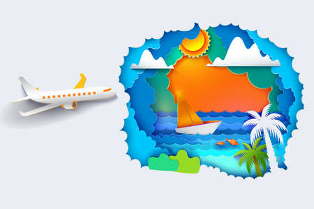 Paper art and craft style. Sun, sea, palms and airplane is flying there. Vector Paper cut illustration. Tropic landscape for travel, vacation, adventure banners? posters
