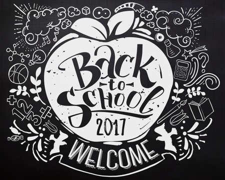 기념일 로고가있는 학교 칠판으로 돌아 가기 스톡 콘텐츠 - 81184079