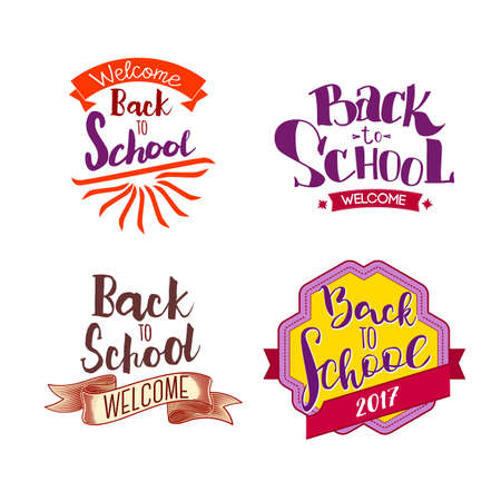 Welcome back to school labels. School tags set. Back to school logo collection. Vector illustration. Hand drawn lettering badges. Typography emblem set. Retro styled Stock Photo