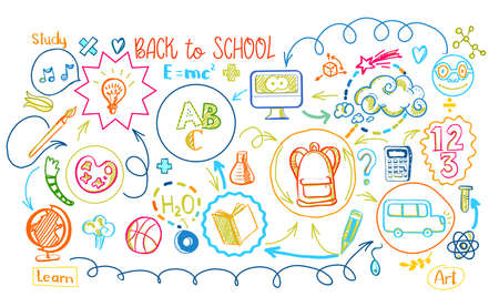 Education scheme infographic. Vector illustration of school supplies and subjects interaction. Sketch design concept for web and mobile services. Back to school banner with study process scheme