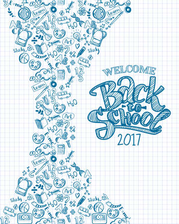 exercisebook: Vertical vector sketch back to school background wit hand drawn typography logo. Doodle illustration of stationery isolated. Template can used for design, branding, web, brochures, folder, banners Illustration