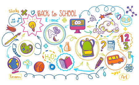 Colored education supplies and school icons on scheme infographic. Vector illustration of subjects interaction. Sketch design concept for web and mobile services. Back to school banner