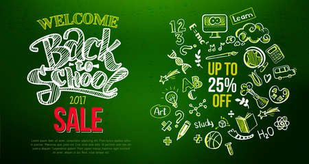 Back to school sale lettering on green Stock Photo