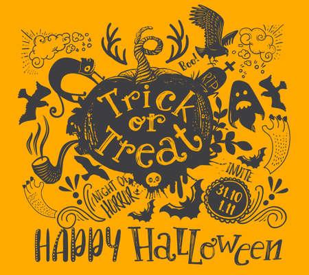 Horizontal Halloween Lettering Quote Illustration