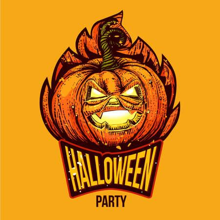 Fun Halloween engraved logo