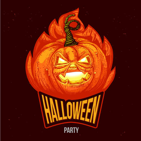 Halloween party lettering with engraved pumpkin.
