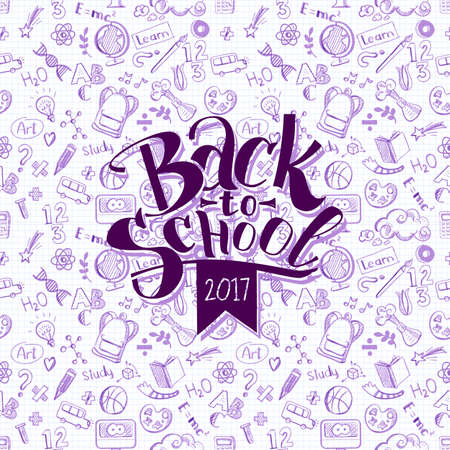 Back to school 2017 logo on background with doodle education supplies. Vector illustration. Retro design. Hand drawn sketch lettering Ilustração