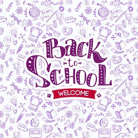 Welcome Back to School on doodles Ilustração