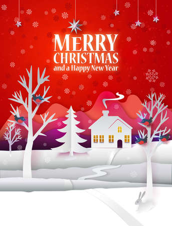 Marry Christmas paper poster with hand cut paper landscape and hipster text greetings. Happy New Year paper art card with winter house, buildings, fir tree, birds, snow and stars. Vector illustration