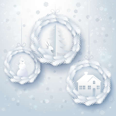 lapin: Paper art Christmas background with decorations. House, snowman, christmas tree, rabbit in wreath made from fir tree branches. Happy new year paper cut out design. Vector illustration for winter greetings Illustration