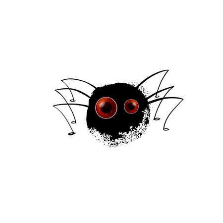 Funny spider. Cartoon blot with legs for you design. Vector illustration. Realistic eyes on black silhouette. Character concept sully white background. Çizim