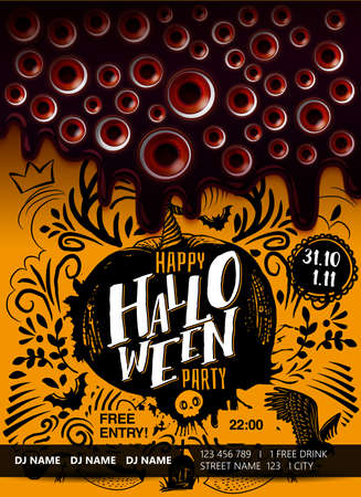 Halloween party poster with melted dark