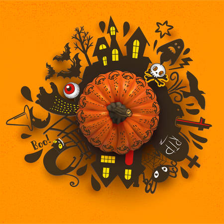 Halloween Paper art banner with cartoon silhouettes around realistic Pumpkin. Vector illustration. Paper cut holiday design with hand lettering greetings. Retro style card. Trick or Treat.