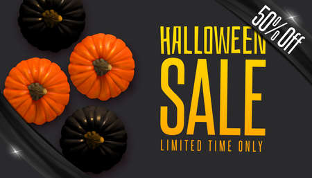 Design banner Autumn sale. Halloween design with realistic black and natural pumpkins on black background. Vector illustration EPS10. Flat lay, top view. Vector Illustration
