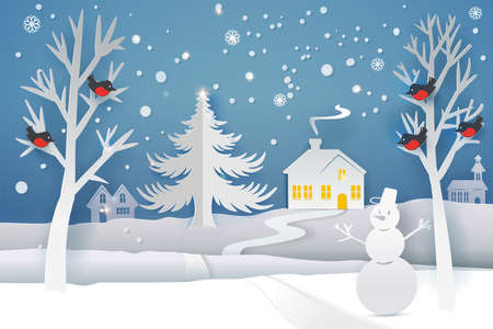 Paper cut and craft winter landscape with evergreen tree, house, snowman, moon and snowflakes. Holiday nature and christmas tree. Web banner. Vector illustration. Merry Xmas.